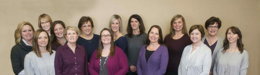 Image of Minneapolis Nurses: Back row left to right: Melanie T, Beth L, Dori G, Donna H, Lindsey M, Lisa C, Stacie E, Theresa A Front row: Juli F, Sue T, Trisha W, DeNae M, Jill W, Teresa H.